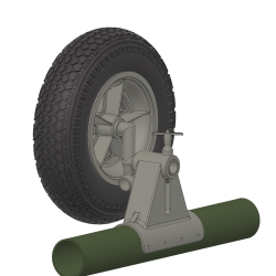 Complete set wheel holder with wheels and axles, Alouette...